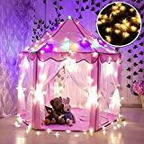 Tienda Campaña Infantil, WER carpa plegable para niños en forma de castillo princesa con luces de estrella de 3 metros - Rasado+luces amarillas