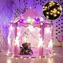 Tienda Campaña Infantil, WER carpa plegable para niños en forma de castillo princesa con luces