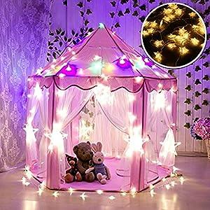 913d1623ad Tienda Campaña Infantil, WER carpa plegable para niños en forma de castillo  princesa con luces de estrella de 3 metros