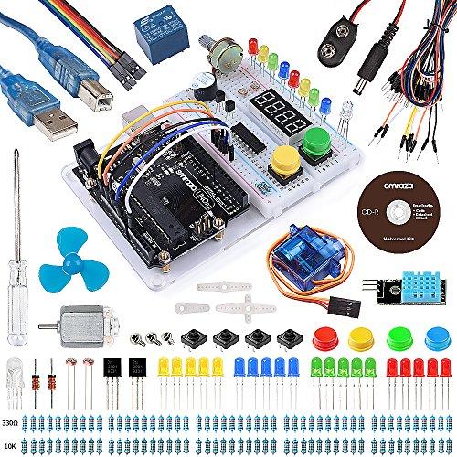 Smraza para Arduino Uno R3 Starter Kit con Breadboard Holder, Motor DC y Tutorial detallado Compatible con Arduino Uno Mega 2560 Mega328 Nano