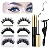 Magnetic Eyeliner and Magnetic Eyelash Kit, Update Version Magnetic Liquid Eyeliner Waterproof With FREE Tweezer For Use With Magnetic False Lashes [4 Magnets, Reusable, Easy to Apply]