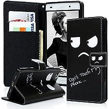 Huawei P8 Lite Funda Libro de PU Leather Cuero Suave Negro - Mavis's Diary Carcasa Con Flip Case Cover, Cierre Magnético, Función de Soporte,Billetera con Tapa para Tarjetas - Diseño de ojos pequeños