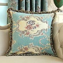 WANGXIAOLIN Cuscino Per Cuscino Lombare Quadrato Cuscino (55 * 55cm / 45 * 45cm Inserto Incluso) Blu E Giallo ( Colore : Blu , dimensioni : 55*55cm )