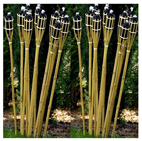 24 Fackeln Gartenfackel 90 cm Naturfarbe Umweltfreundlich I Lange Brenndauer - Nachfüllbar I Bambusfackel Ölfackel Set