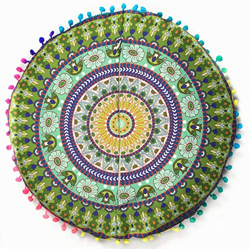 Mimagogo Forme Ronde Imprimã© Floral Couverture Couverture Case Cover-Up Indian Mandala Mat