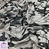 FS012_ 2Camouflage Grün Armee Print Jersey Dehnbar Grau Marl & Säge Schneiden Stoff (Pro Meter), grau, 1 m