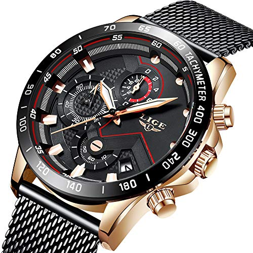 Uhren Herren Schwarz Edelstahl Mesh Band Chronograph Quarz Uhr Männer Datum Kalender Wasserdicht Multifunktions Armbanduhr -