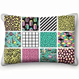 dfgi Memphis s Geometric Animals Grid Beauty Fashion Beauty Fashion Home Decor Wedding Gift Engagement Present Housewarming Gift Cushion Cover 20x30 inch