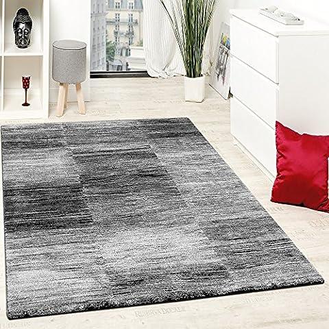 Designer Teppich Modern Wohnzimmer Teppiche Kurzflor Karo Meliert Grau Schwarz, Grösse:200x280 cm