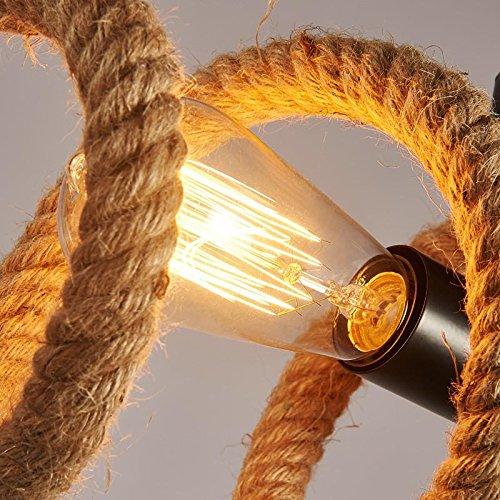 BAYCHEER Industrielampe Rustik Seil Kronleuchter 2 Flammige Lampe Länge 70cm Welle Form Bar Loft Design Leuchte - 2