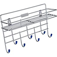 Dharmik_Enterprise Stainless Steel Multipurpose Multi Holder 9 Hook Wall Mount Bathroom Kitchen Organizer Steel Hanger - 1 Layer