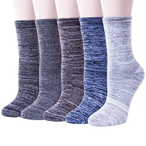 5paires Chaussettes Femme Hiver Chaussettes en Laine Chaudes Super Epaisses Doux Classiques Simples, Multicolor 2, Taille unique