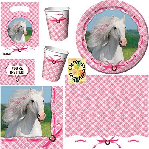 HHO Weißes Pferd Schimmel Partyset 49tlg. Teller Becher Servietten Tischdecke Tüten Einladungen für 8 Kinder