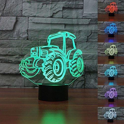 3D Traktor Glühen LED Lampe 7 Farben erstaunliche optische Täuschung Art Skulptur Ferneinstellung Lichter produziert einzigartige Lichteffekte und 3D-Visualisierung für Home Decor-kreative (Baseball Kit Dekoration)
