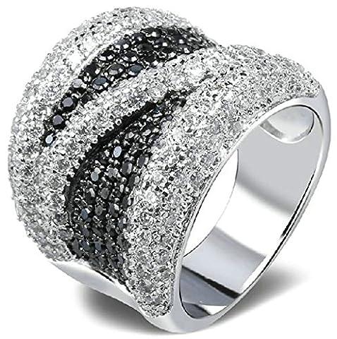 AnaZoz Bague Femme Mariage Élégant 18K Plaqué Or Incrusté Zircon Cubique Cristal Bicolore N Design Blanc Or Taille 56.5 Bague de Fiançailles Accessoires de Mariée
