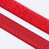 1m Klettband Haken+Flausch , hochwertig zum Aufnähen 20mm ro