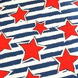 0,5m Jersey Rote Sterne auf Ringel Blau-Weiß 5% Elasthan