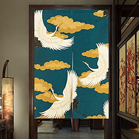 Pueri Rideaux Japonais Rideau Voilage Fenêtre Noren Rideau de Porte Panneau Tenture de Porte Tapisserie Décoration 85*120cm