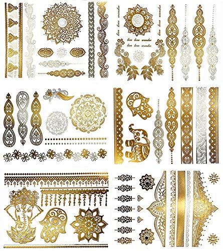 KingSnow Flash Tattoos, Temporäre Tattoos Wasserdicht Metallic Tattoos, 10 Blätter 200 Mustern Goldene Tattoos MetallicTattoos Sticker, Tattoo zum Aufkleben -