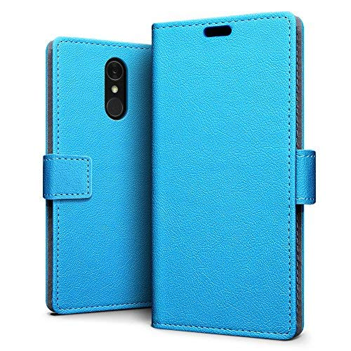SLEO LG Q7/LG Q7 Plus/LG Q7 Alpha Hülle, PU Leder Case Tasche Schutzhülle Flip Case Wallet im Bookstyle für LG Q7/LG Q7 Plus/LG Q7 Alpha Cover - Blau