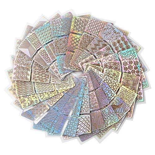 288 Stück Nagelaufkleber Vinyls Nail Art Maniküre Schablone DIY Nagel aufkleber , 24 Blatt, 72 Designs (24pes) -