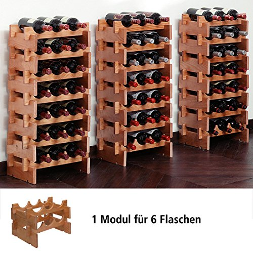 Cantinetta / scaffale per vino / sistema MERLOT, per 6 bottiglie, ciliegio scuro, ampilabile / impilabile - a 25 x l 39 x p 29 cm