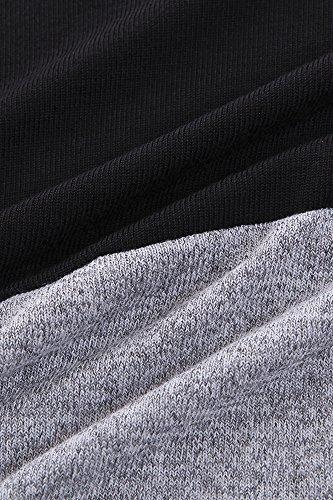 Flying Rabbit Damen Pullover Baumwolle Sweatshirt Tops Leicht Tunika Gestrickt Rundhals Langarmshirt Schwarz