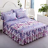 Zhiyuan Flower Lavender Two Layers Ruffle Bed Skirt Bedspread and Pillowcases Set, Queen