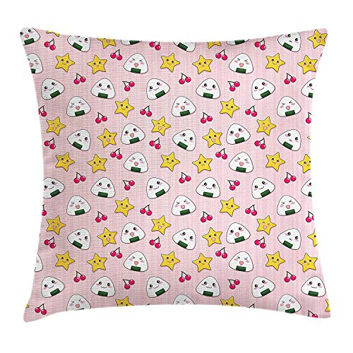 Cupsbags Anime Throw Pillow Cushion Cover, Funny Pattern with Japanese Rice Balls Cherries and Stars Childish Food Cartoon Print, Decorative Square Accent Pillow Case, Multicolor24