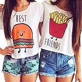 Damen Kurzarm T-Shirts Best Friends Tee für Mädchen mit Aufdruck Burger und Pommes Lustige Passende Kostüm B Best+Friends DE 36