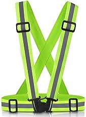 Dokpav Reflektorweste,Warnweste/Reflektorweste / Sicherheitsweste Einstellbare Reflektierende Fahrwerk Sicherheitsweste GüRtel Für Laufen, Gehen, Jogging, Radfahren, Motorrad (Grün)