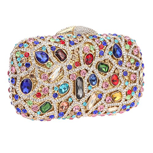 Bonjanvye Bling Evening Clutch Purse For Wedding Handbags For Girls Black Multicolor
