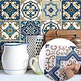 JY ART Z Fliesenaufkleber für Bad u. Küchenfliesen | Fliesen verschönern mit Klebefolie statt Fliesenfarbe | Sticker-Fliesen - Wanddekor | Nordische Vintage -Marokkanischer Stil, 20cm*20cm