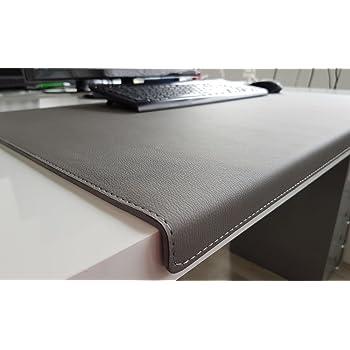gewinkelte schreibtischunterlage mit kantenschutz softlux leder 70 x 47 grau. Black Bedroom Furniture Sets. Home Design Ideas