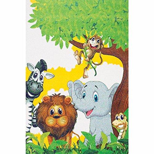 dschungel teppich Kinderteppich Spielteppich Kinderzimmer Teppich Dschungel Zootiere niedliche bunte Tiere Größe 160 x 230 cm