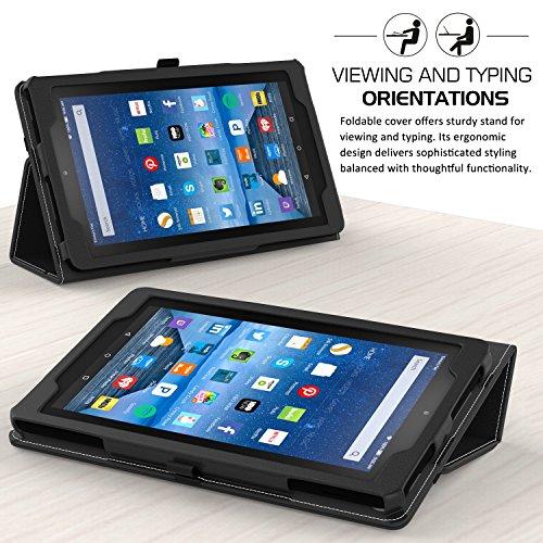 MoKo Housse Fire 7 2015 - Etui Fin et Pliable pour Tablette Amazon Fire 7 Pouces (5ème Génération,Modèle 2015) Seulement, NOIR A-Noir