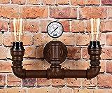 Vintage Wandleuchte Steampunk Rohr: 2 Lampen-Design im Retro Stil mit Luftdruckanzeiger, Rustikal, Braun, B:26cm H:30cm/18cm D:3,5cm, CE- Sicherheit Zertifikation. Perfekte Innendekoration