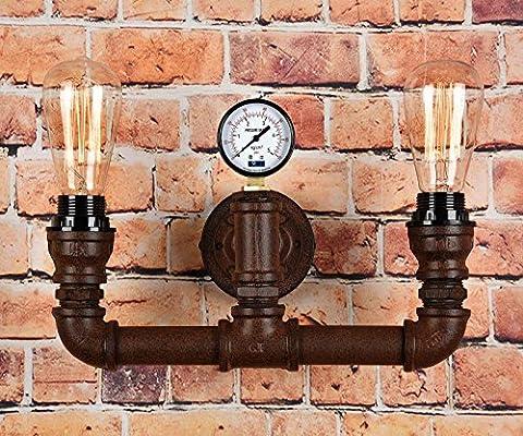 Vintage Steampunk Pipe Wall Light 2 Lamps Design Water Gauge Rustic