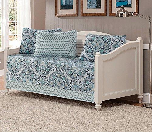 K&M MK Kollektion Oversize Wende Gesteppte Tagesdecke Set Blumen Hellblau Weiß Grau Navy Blau Neu DayBed Light Blue, White, Gray, Navy Blue -