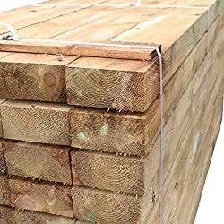 Suregreen Tanalised Treated Softwood Timber Railway Sleeper 200x100MM Thick, 2.4m