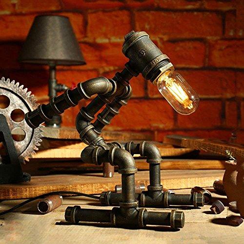 MOMO Lámpara de Mesa Industrial Retro, Creativo Tubo de Hierro Loft Edison Plomería Robot lámpara de Escritorio E27 para Coffee Bar Dormitorio Oficina Decoración Lámpara de Mesa (Esquí),Regulador de