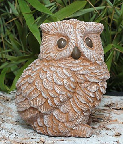Steinfigur Eule - Terrakotta Deko Figur Garten Frostsicher