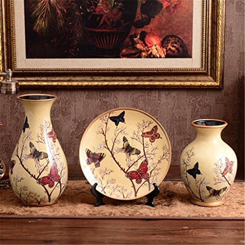 Estilo europeo casa cerámica tres conjuntos de jarrones manualidades decoración TV gabinete–muebles...