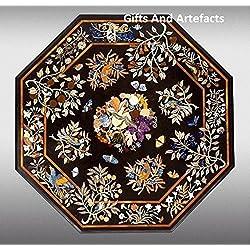 """Gran mesa de café parte superior 48""""OCTAGON de mármol negro Inlay Unique Diseño de flores"""