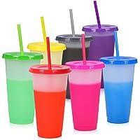 Changement de couleur Gobelets Réutilisables - 7 PCS Plastique Cups Reutilisable avec Couvercles et Pailles | Café…
