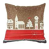 Miya@ 1 Stück hochwertige Kissenbezug süß kleine Stadt am weihnachten mit Schnee, aus Baumwoll und Leinen Sofakissen couch Kissenbezug Geburtstagsgeschenk Hochzeitgeschenk Weinachtsgeschenk