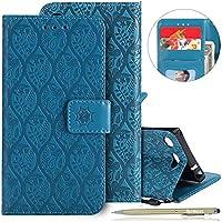 Herbests Handy Schutzhülle Sony Xperia XZ1 Compact Handyhülle Retro Blumen Muster Bookstyle LederHülle Brieftasche Ledertasche Klappbar Handy Tasche Leder Flip Case Handycover,Blau