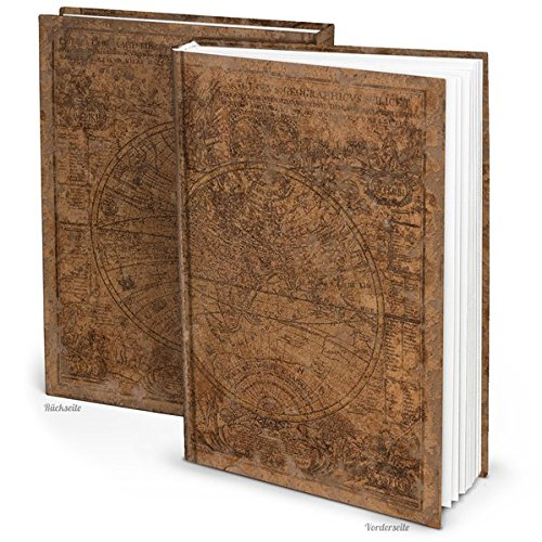 """XXL Notizbuch \""""Alte Welt\"""" braun DIN A4 164 Seiten mit leeren weißen Seiten"""