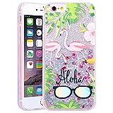 HB-Int Glitzer Liquid Hülle für iPhone 6 / 6S Flamingo Series Transparent TPU Bumper Backcover Luxus Sterne Sparkle Bling Schutzhülle Flüssigkeit Handyhülle Tasche Glänz Etui - Palme Brille