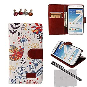 xhorizon TM New Floral Leaf Style Wallet Folio Flip Magnet Stand Leather Case Cover with Credit Card Holder for iPhone 4S 5S Samsung Galaxy S3 S4 S5 Note N7100 N9000 with stylus and xhorizon cleaning cloth